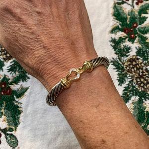 DAVID YURMAN 18K Silver Diamond Buckle Bracelet